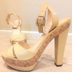 Prada nude cork platform strappy sandal 36.5
